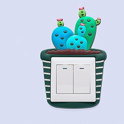 TOSISZ Bonitos Dibujos Animados 3D Cactus Pared Fluorescente de Silicona Interruptor de Encendido y Apagado Pegatinas Interruptor de luz Luminosa Salida Decoraciones para el hogar-002