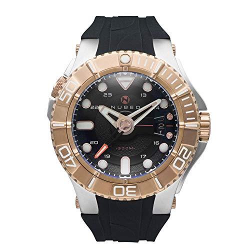Nubeo Manta NB-6003-05 Herren-Armbanduhr mit 3 Zeigern, blaues Zifferblatt und schwarzem Silikonarmband
