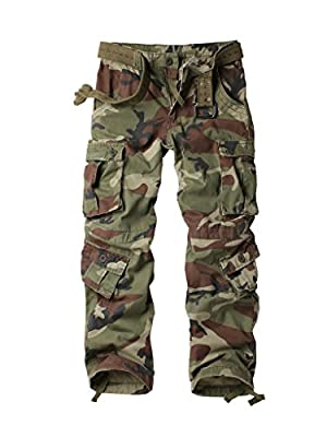 AKARMY Men's Cotton Casual Military Army Camo Combat Work Cargo Pants with 8 Pockets Battlefield Camo 38