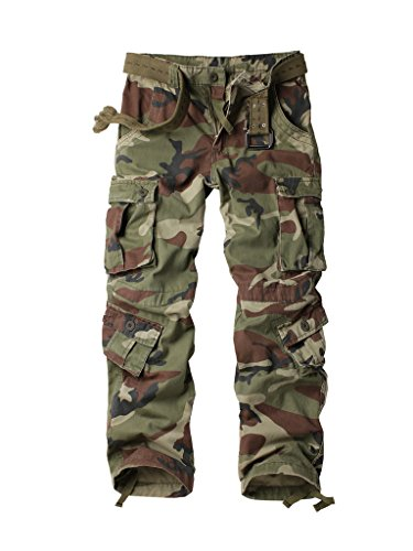 AKARMY Must Way Men's Cotton Casual Military Army Camo Combat Work Cargo Pants with 8 Pockets Battlefield Camo 34