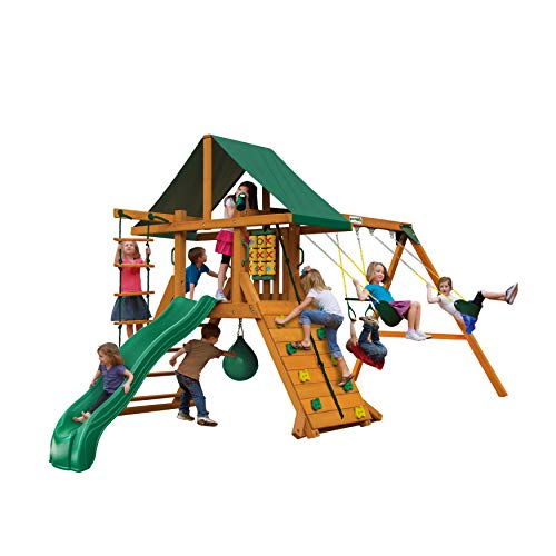 Gorilla Playsets 01-1033 Ozark II Wood Swing Set with Green Vinyl Canopy, Rock Wall, and Punching Ball
