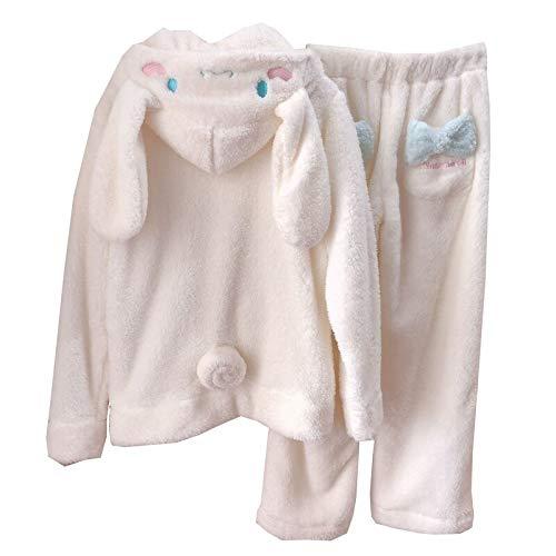 Engpai Sweatshirt Zweiteiliger Pyjama Coral Fleece dick warm Winter Cartoon Kawaii weiß Hoodies Hose M PajamaSets