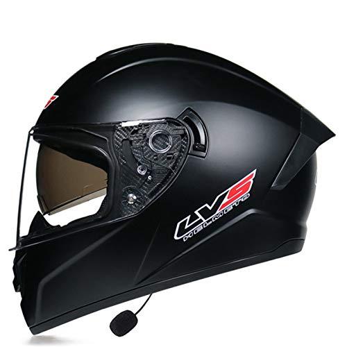 Unisex Adulto Casco Integral para Motocicleta Casco de Moto Integral con Doble Visera ECE Homologado Bluetooth Casco Moto Integral para Ciclomotor y Scooter para Mujer y Hombre I,S