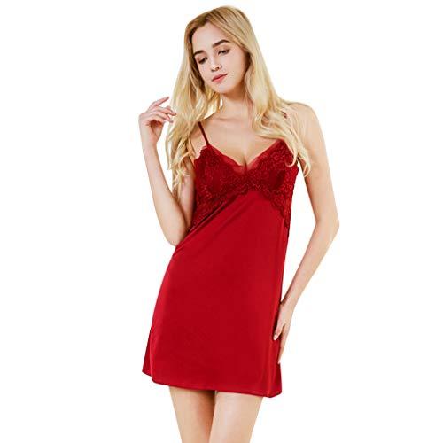ZOTTOM Sexy Simulation Seidenpyjamas für Frauen Bequemes Seidenspitzen-Pyjama mit Sling-Nachthemd(Rot,Medium)