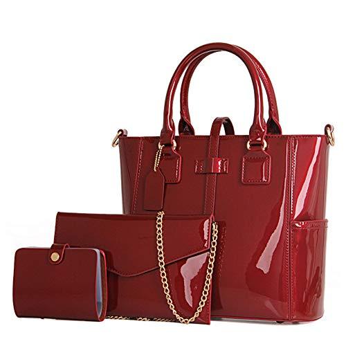 Chikencall Juego de 3 bolsos de mano para mujer, de piel de patente, con asa superior, cadena y bolsa de hombro, color Rojo,...