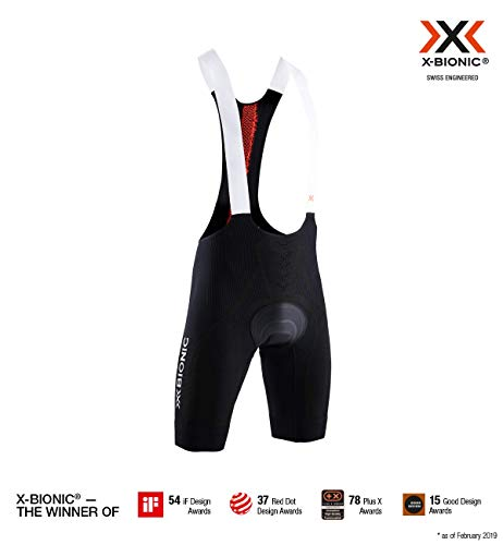 X-Bionic The Trick 4.0 Bike Bib Padded Men Shorts Homme, Opal Black/Sunset Orange, FR : S (Taille Fabricant : S)