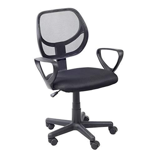 GOLDFAN Silla de oficina con reposabrazos, respaldo medio, altura ajustable, silla de escritorio con ruedas para el hogar y la oficina