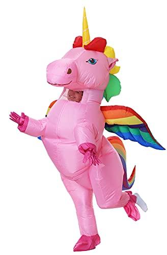 GOPRIME Adult Size Inflatable Rainbow Unicorn Costume Halloween Costume (Rainbow Large Winged)
