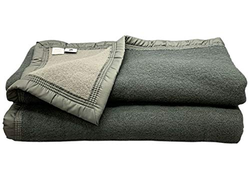Couverture Laine Anthracite/Souris 220 x 240 cm - POYET MOTTE - Gamme Aubisque - Made in France