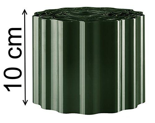 EXCOLO Rasenkante 9m lang 10cm hoch Rasenumrandung Beetbegrenzung Raseneinfassung Mähkante in grün tannengrün Sinuswelle