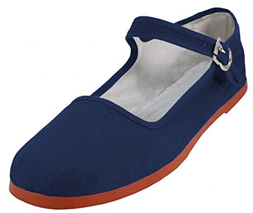 Easy USA Women's Cotton Mary Jane Shoes Ballerina Ballet Flats Shoes (5, 114 Navy)