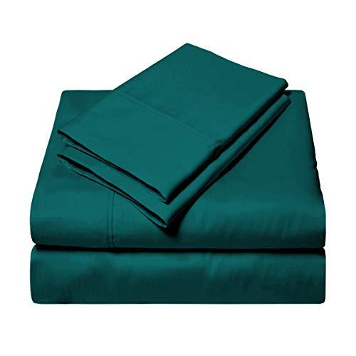 Exotic SGI Bedding Europe Collection - Juego de sábanas de algodón egipcio para cama king (sábana bajera, sábana encimera, funda de almohada) 600 hilos, color verde azulado sólido 38 cm de profundidad