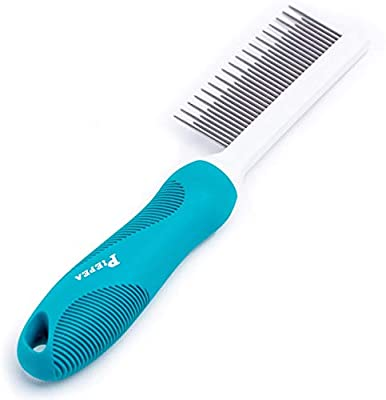 Pet Comb, Long and Short Teeth Comb for Dogs & Cats, Pet Hair Comb for Home Grooming Kit, Removes Knots, Mats and Tangles from PIEPEA