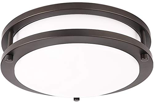 LE LED Flush Mount Ceiling Light, 10 inch Oil Runbbed Bronze Ceiling Light Fixture Dimmable, 1200lm 16W (120W Equivalent) Ceiling Lamp for Kitchen, Bedroom, Laundry, Living Room Hallway, 4000K White