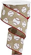 Sports Glitter Wired Ribbon - 10 Yards (Baseball, Light Beige, 2.5