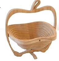 3D アップル バスケット 立体的 林檎 かご インテリア 収納 テーブル 竹 デザイン TASTE-APPLKAGOD -M