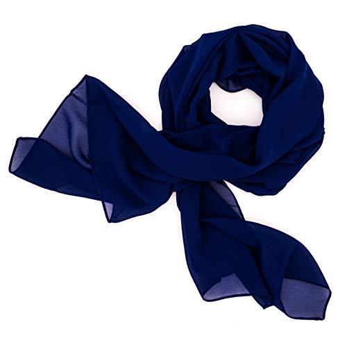 DOLCE ABBRACCIO by RiemTEX ® Schal Damen SWEET LOVE Stola Chiffon Tuch in 30 Unifarben Schals und Tücher Halstücher XXL Chiffontücher in königlichem Blau Halstuch für jede Jahreszeit (Royalblau)