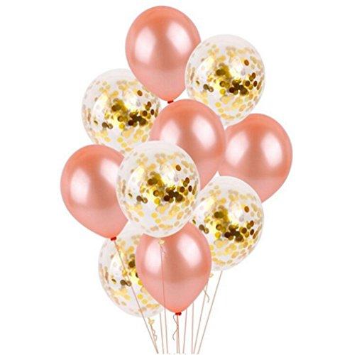 Freesiom 10pcs Ballon Mariage Fiancaille Romantique Champetre Chic Latex Paillette Decoration Amour Ornement Chambre Jardin Pour Fete Party Soiree Anniversaire Noel (Or Blanc Rose Poudre)