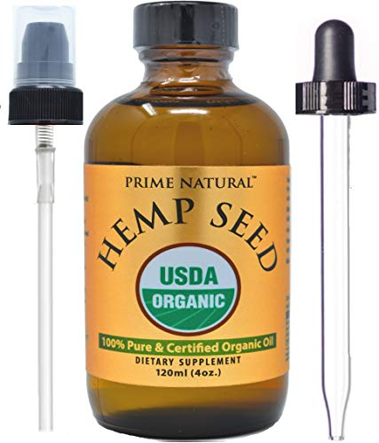 Organic Hemp Seed Oil - 4oz USDA Certified - Sativa Oil - Pure, Cold Pressed, Virgin, Unrefined, Vegan, Non-GMO, Food Grade, No Preservatives - High Omega 3 6 9 Fatty Acids, for Joints, Skin, Hair