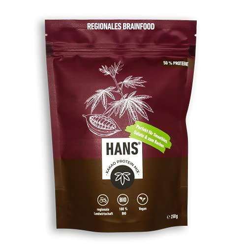 HANS® Vegan Proteinpulver 50% Eiweiß | Hanf Lein Kürbis Sonnenblume | Pflanzliches Hanfpulver ohne Zusatzstoffe | Superfood Eiweißpulver für den Muskelaufbau | Bio-Protein Pulver