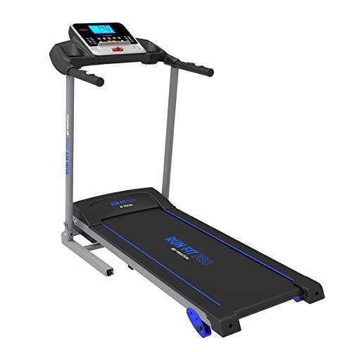 PRIXTON Run Fit RF200 – Tapis de course pliable avec vitesse et inclinaison réglables, tablette/support mobile, moniteur de fréquence cardiaque et affichage LED