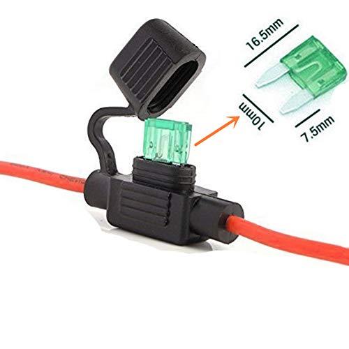 Qiorange Sicherungshalter KFZ LKW Flachsicherung Sicherung Halter wasserdicht 30A (inkl. 30A Sicherung -26 cm/Kabel) 1 Set