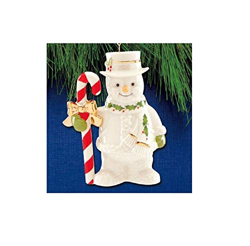 Lenox 2020 Candy Cane Snowman Ornament, 0.50 LB, Ivory