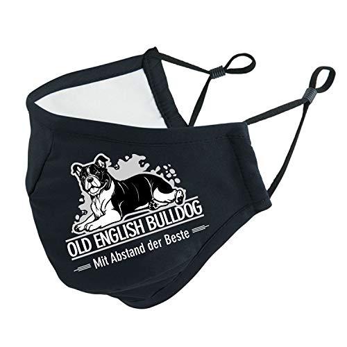 Old English Bulldog OEB mit Abstand Beste Mundschutz Behelfsmaske Face Cover schwarz