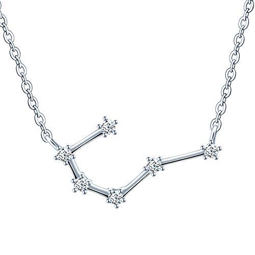 MicVivien Collar de plata de ley 925 para mujer con colgante de constelación, signo del zodiaco, 12 horóscopo, astrología, estrella collar con pendientes