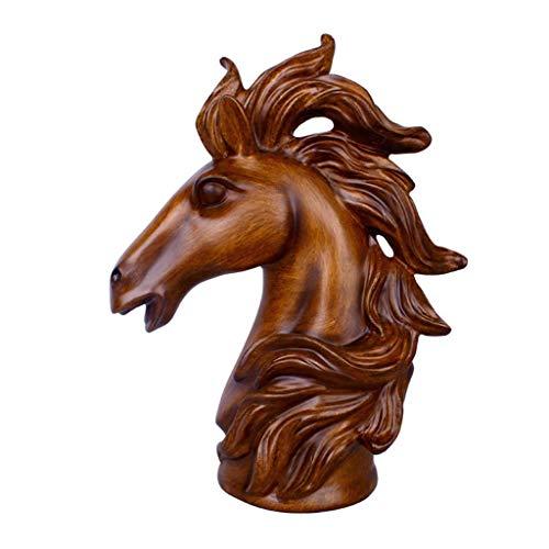 LIUSHI Escultura de Estatua de Cabeza de Caballo para decoración del hogar, artesanía de Animales con Personalidad de Resina, decoración de Escritorio para Sala de Estar de Oficina, decoración H35C