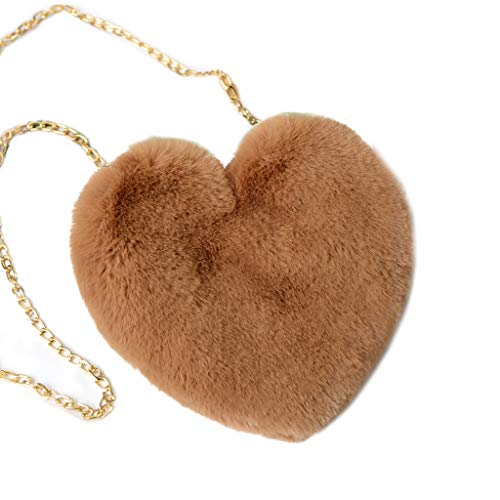 XUHANG Heart Hairy Mini Shoulder Bags Furry Plush Messenger Bags Handbag for Women