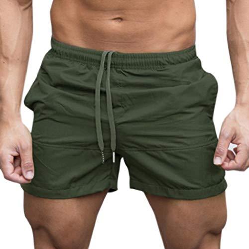 Pantalones Cortos Hombre Chandal Verano 2019 Nuevo SHOBDW Tallas Grandes Corriendo Pantalones Hombre Deporte Bolsillos Color Sólido Transpirable Pantalones de Playa(Verde 1,M)