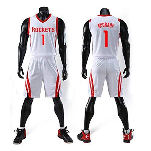 ZSPSHOP NBA Basket Vestiti Vestito, Sport Jersey, Jersey Houston Rockets Gioco di Addestramento, No. 13 Harden, Paul No. 3, No. 1 Madison (Color : White1, Size : XL)