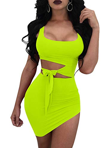 GOBLES Womens Sexy Bodycon Cut Out Sleeveless Outfit Mini Club Tank Dress Fluo Green