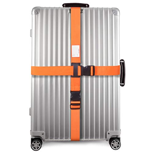 Personalised Luggage Cross Straps for Suitcases (1 Pack Orange)OW-Travel Easy to Spot Sturdy Suitcase Straps with Luggage labels.Luggage Strap Travel Belt for Suitcase Bag Baggage.Bag Strap Case Belts