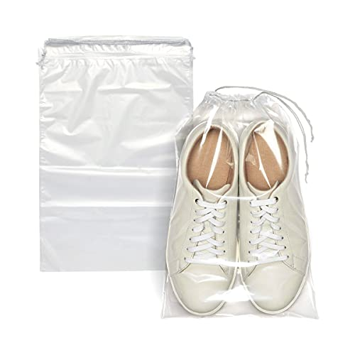 """APQ Pack of 50 Travel Shoes Bags 10"""" x 14"""" Clear Plastic Drawstring Bags 10x14 Thickness 2 mil Double Cotton Drawstrings Travel Bags Shoes Storage Pouches Plastic Bags for Packing and Storing"""