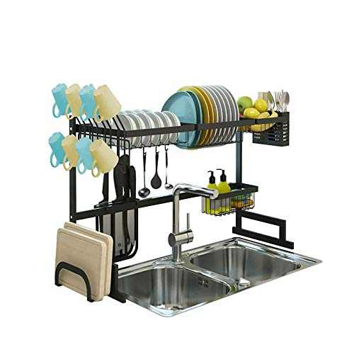 DYYDMM Over Sink Drainer Rack,Stainless Steel 2-Layer Dish Rack Kitchen Countertop Supplies Storage Large Capacity for Plate Bowls Pots
