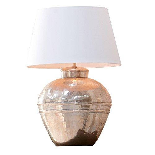 Loberon Tischlampe Madison, Baumwolle, Messing, H/Ø 63/18 cm, antiksilber/creme, E27, max. 60 Watt, A++ bis E