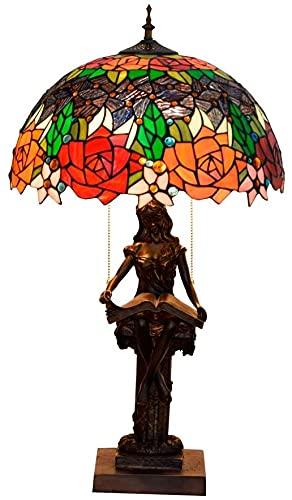 MUZIDP Lámpara de Mesa de Cristal manchada de 40 cm Tiffany Lámpara de Estar de Vidrio de la Iglesia Lámpara de Noche de la Cama Americana.