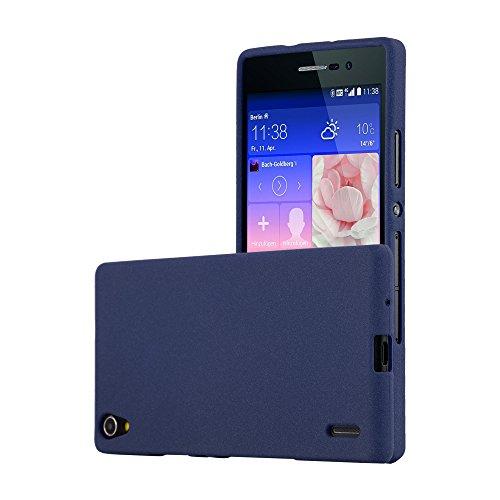 Cadorabo Funda para Huawei P7 en Frost Azul Oscuro - Cubierta Proteccíon de Silicona TPU Delgada e Flexible con Antichoque - Gel Case Cover Carcasa Ligera