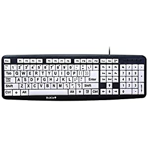Nuklz N Large Print Computer Keyboard   Visually Impaired Keyboard   High Contrast Black and White Keys Makes Typing Easy   Perfect for Seniors and Those Just Learning to Type