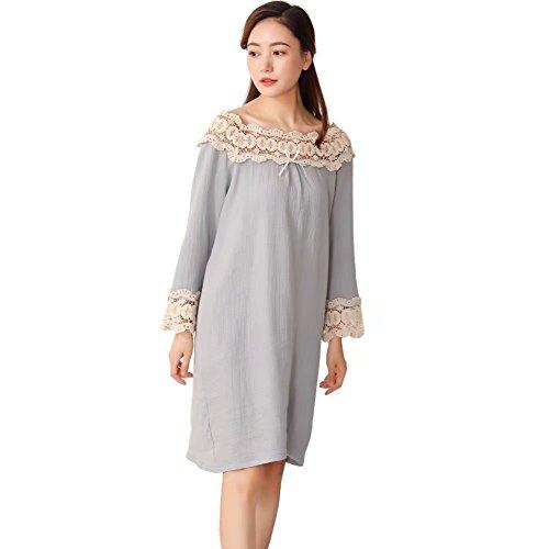 QLX Frauen Baumwolle Schlafrock Nachthemd Langarm für Herbst Viktorianischer Stil Spitze