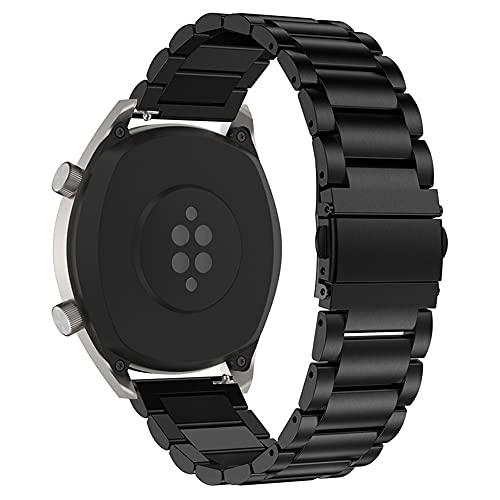 Cytech Correa para Samsung Gear S3 Classic/Frontier, Galaxy Watch 46mm, Huawei Watch GT 2 46mm, Huawei GT Sport/Active/Elegant/Classic Pulsera, 22mm Acero Inoxidable Pulsera (Negro)