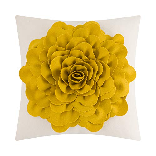 JWH Handmade 3D Peony Flower Accent Pillow Case Cushion Cover Wool Decorative Shell Cotton Canvas Sham Home Bed Living Guest Room Office Chair Decor Square Protector Gift 18 x 18 Inch Golden Yellow