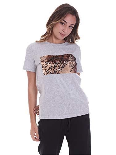 Calvin Klein K20K202453 T-Shirt Kurzarm Frau Hellgrau M