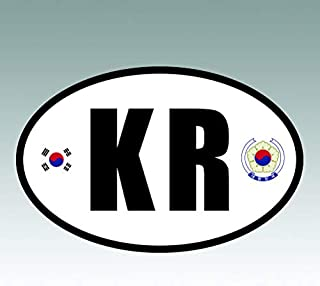 RDW South Korea Oval Sticker - Die Cut - Decal - KR v6 Country Code Euro - Size: 4.99