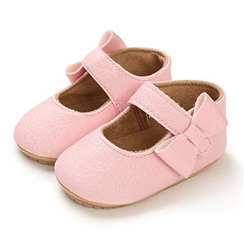LACOFIA Ballerine neonata Scarpe da Battesimo Primi Passi Bambina Scarpine Principessa Bowknot Antiscivolo per Bimba Rosa 3-6 Mesi