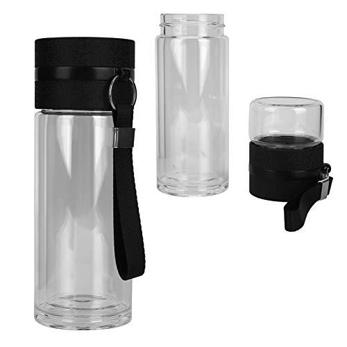 Botella de agua para infusor de té, plástico de calidad alimentaria, botella de doble pared, diseño duradero, fácil de limpiar para agua helada, té al aire libre