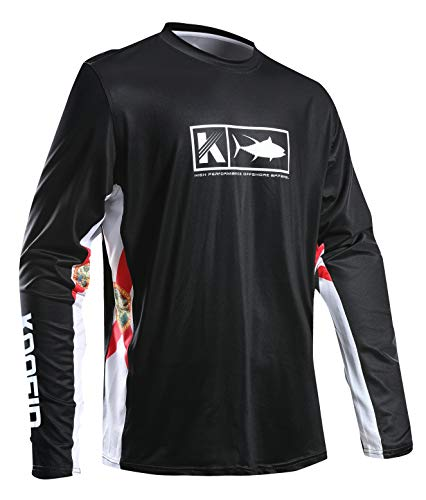 Performance Fishing Shirt Vented Long Sleeve Shirt Sun Protection UPF50 Moisture Wicking Rash Guard with Mesh Sides Loose Fit, Black,Large