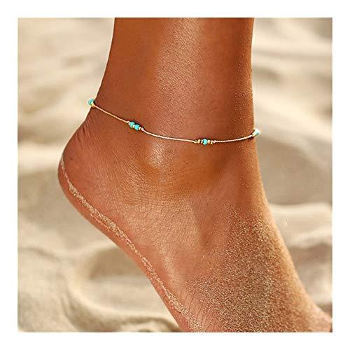 WENAN Anklet Pulsera de la Pierna del pie Colorido de la semilla del Grano de Shell Shell Shell Shell Pulsera for el Tobillo de Verano la Playa del océano for el Tobillo de Las Mujeres Pulgar